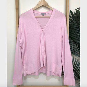 COS Pink Silk Cotton Knit Cardigan Size M V Neck